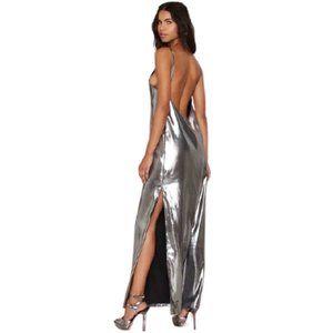 Nasty Gal Alloy About Eve Metallic Maxi Dress